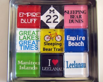 EMPIRE Michigan - M22 Manitou Islands Leelanau Up North Michigan Magnets Set, Northwest Michigan Souvenir