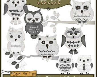 Hoot Owls - A Black Tie Affair Paper Piecing Clipart Elements for Invitations, Card Design and Scrapbooking - Instant Download