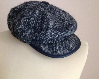 70s Tweed NewsBoy Cap Barleycorn Wool Women Men Medium