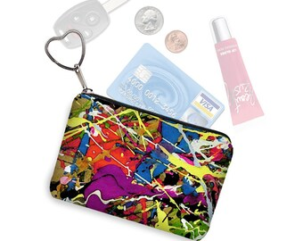 Credit Card Holder Coin Purse Keychain Key Fob Colorful Business Card Case Paint Splatter Jackson Pollock  red purple blue yellow green RTS
