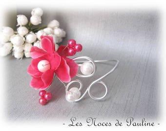 Fuchsia wedding bracelet and White Peony Anaïs 1