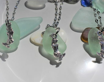 Mermaid Tear Beach /  Sea Glass Necklace Seafoam Green Fine Silver Stainless Steel Chain Wedding Bride Bridesmaid