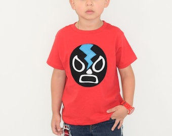 Luchador Negro - Black Mexican Wrestler Kids {RED} T-Shirt
