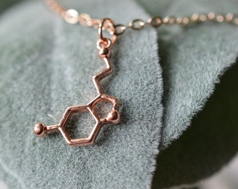 Biolojewerly -  Rose Gold Serotonin Neurotransmitter Molecule Necklace