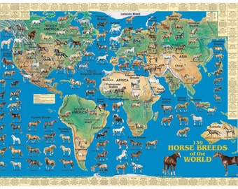 Dinosaurs of the world wall map poster horse breeds of the world wall map poster gumiabroncs Images