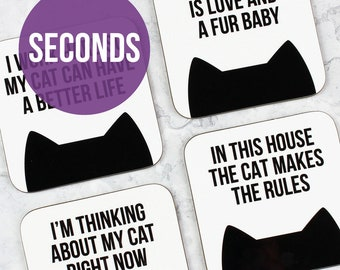 SECONDS sale cat coasters, Cat lover gift, Housewarming gift, Motivational coasters, Home decor