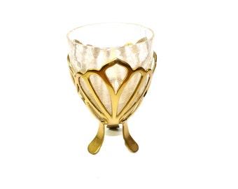 Crackle Glass Candle Holder Brass Candle Holder Votive Candle Holder