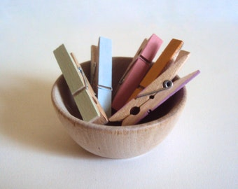 Set of 6 Small Colored Clothespins - Pastel Mini Clothes Pins - Cottage Chic Spring Decor - Decorative Wall Photo Holder - Photo Clothesline