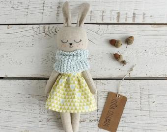Bunny doll. Eco toy. Organic stuffed animal. Eco friendly toy. Organic toy. Rabbit doll. Rag doll. Nursery decor. Eco friendly gift