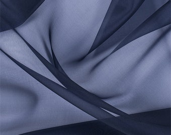 Navy Blue Silk Organza, Fabric By The Yard
