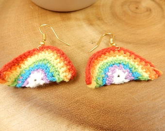 Rainbow Earrings, Crochet Dangle Earrings, Rainbows, Handmade Earrings