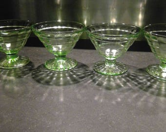 Beautiful Green Vaseline / Uranium Glass Sherbet Dishes- 4