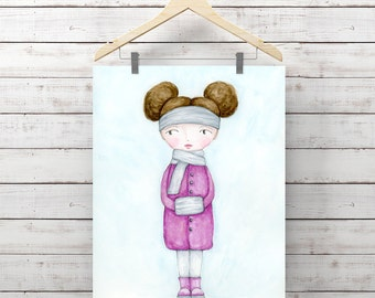 Baby, It's Cold Outside Watercolor Print - Print of Watercolor Whimsy Girl Painting - Original Art by Angela Weber - Giclee Art Print