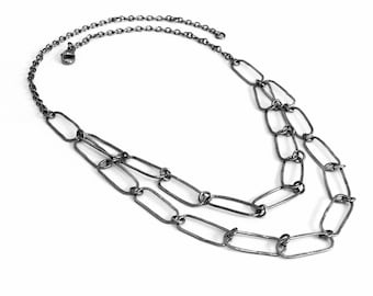 SHAYE OOAK Solid Sterling Silver Organic Oxidised Chain Necklace - Handmade in Australia