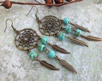 Dreamcatcher earrings, Dream Catcher Boho Earrings, Chandelier Earrings, Ethnic Earrings, Feather Earrings,Gypsy earrings, Ethnic style