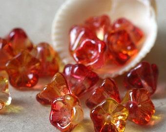 Czech Glass Flower Beads - Jewelry Making Supplies - 6x8mm (50 Beads.. one strand) Bi-Color Fucshia/Lemon