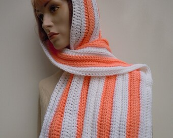 Peach and White Pixie Hood - Hooded Scarf - Scoodie - Crochet Hat and Scarf