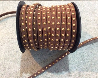 brown and gold studded faux suede cord jewelry making supplies wrap bracelet boho