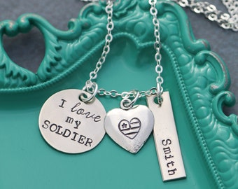 Military Wife Gift • I Love My Soldier Necklace • Personalized Army Navy Seal Air Force Marine Corps • Sister Daughter Girlfriend Deployed