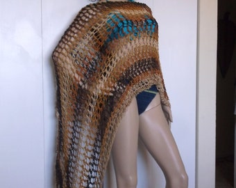 Hand Crochet Long Asymmetrical Poncho, Lightweight Summer Poncho,  Asymmetrical Poncho, Crochet Shoulder Wrap, in a Mocha Stripe Color