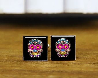 Custom Wedding Square Cufflinks, Sugar Skull Cufflinks & Tie Clip, Mexico Skull Cuff Links, Day Of The Dead Cufflink, Idea Wedding Cufflinks