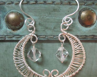 Handcrafted silver and crystal woven moon earrings