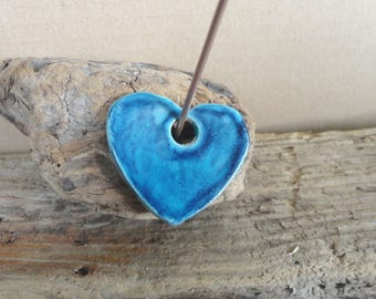 heart in earthenware, blue teal and Blue ceramic glaze - accessory jewelry pendant gift for her-Valentine