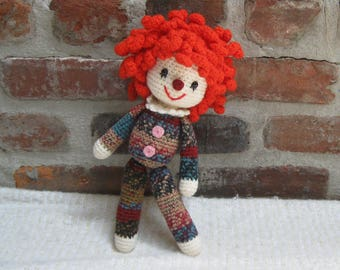CLOWN Doll  - Amigurumi Doll Crochet Doll finished - Plush Doll Softie