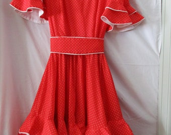 1960's  woman's red and white Square Dancing Dress by Square Dancing Dress CO size 14 cut 6  20% off now 39.20 orig. 49.00
