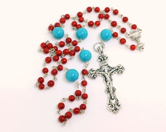 Lutheran Prayer Beads — Coral and Turquoise — 5 Decades