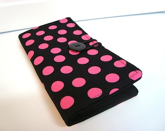 Loyalty Card Organizer Holder, 12 Business Card,Gift Card Wallet -  Black with Pink Dots