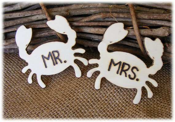 Rustic Wooden MR. & MRS. Crab style wedding charms in natural wood for beach weddings - use as wine charms or cake toppers