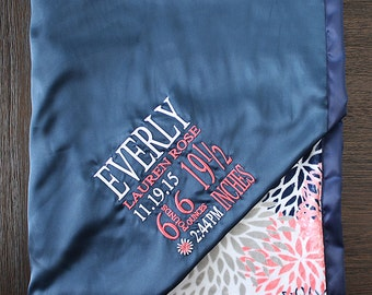 Personalized Minky Blanket, subway art baby blanket, coral and navy birth weight blanket, minky and satin, birth stats, baby girl minky gift