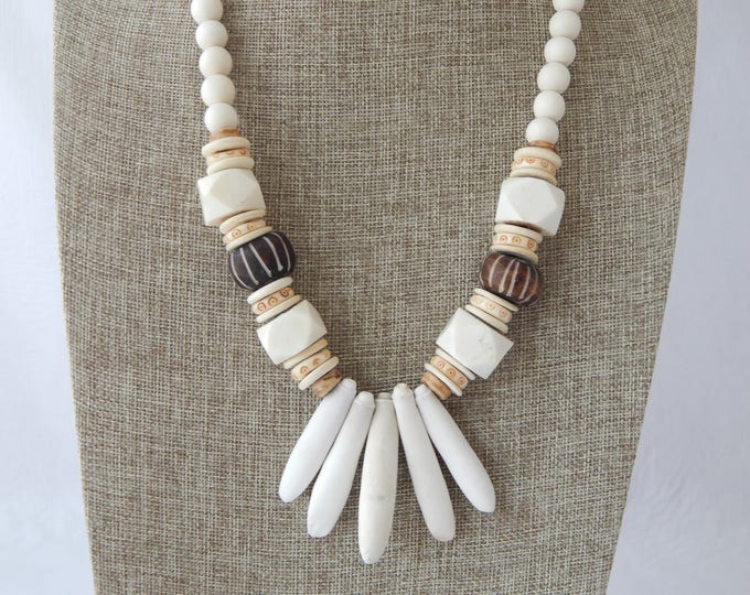 Featured listing image: Natural wood bead necklace with sea urchin spikes and bone beads, boho necklace, brown and white, large bone beads, beach chic jewelry