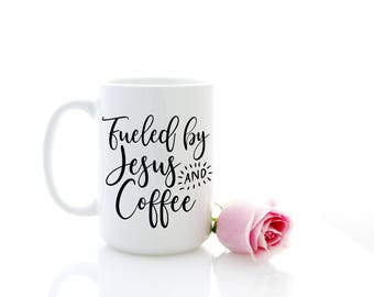 Fueled by Jesus and Coffee mug. Christian Gift for Pastor, Religious Present. Calligraphy Syle Ceramic Mug by Milk & Honey.