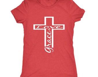 Love and Grace Cross Women's T-shirt, Cross, Christian, Faith, Shirt