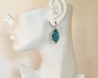 Apatite gemstone silver hoop earrings