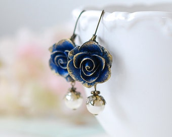 Dark Blue Earrings, Blue Flower with Cream Pearl Earrings, Navy Blue Earrings, Rose Earrings, Something Blue Wedding Bridesmaid Earrings
