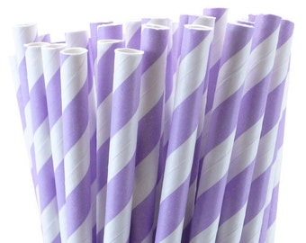 25 Lavender (light purple) Striped Paper Straws with Printable Party Flags PDF File