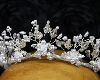 Vintage Blooming Floral Boho Fairy Tiara, Bridal Crown, Featuring Pink Enamel Flowers, Silver Leaves, Pearls, Glass Beads, All Hand Wired