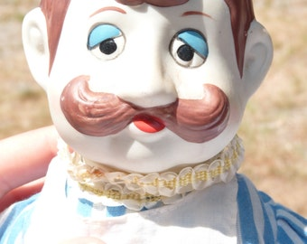 Vintage Porcelain Chef Doll - Large Doll - French Moustache Man Chef Doll - Home Decor - Collectible - Summer Vintage Finds - TPT Team