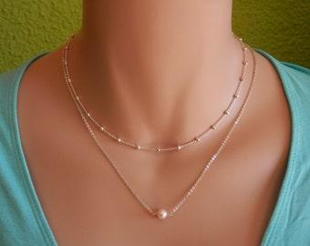 Bridesmaid Gift Single Pearl Necklace non Floating pearl necklace Dainty pearl necklace bridesmaid Pearl jewelry set delicate pearl necklace