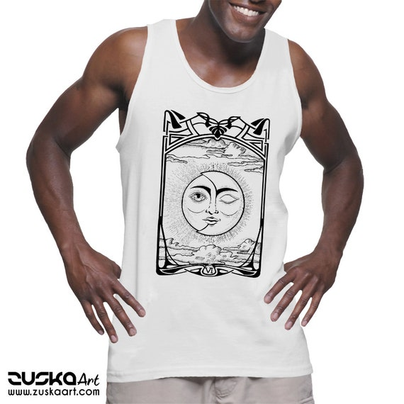 The Lovers VI Tarot Card | Unisex American Apparel Tank top | Sun and Moon | Cosmic Wedding | Solar Eclipse | Ink drawing | ZuskaArt