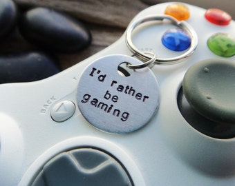 I'd Rather Be Gaming Keychain- Gamer Geek Computer Console Addict- Stamped Aluminum Silver Gamer Key Ring