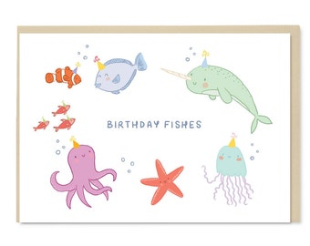 Birthday Fishes - Cute Birthday Card - Illustration - Blank Inside