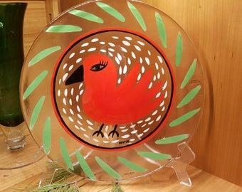 """Kosta Boda Sweden Fat Glass Vallien 13"""" Pop Art Red Bird Plate"""