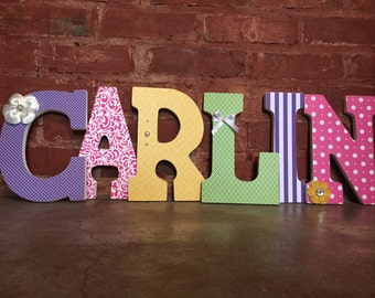 Custom decorative wooden letters,wooden names, nursery decor, girls room, multicolor hanging name