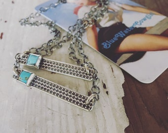 Sterling silver bar necklace with Kingman Arizona Turquoise