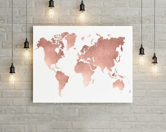 World map poster etsy world map wall art rose gold print world map poster rose gold wall gumiabroncs Images