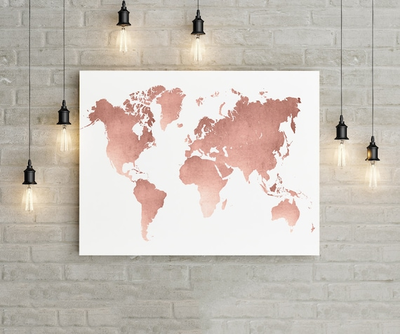 World map wall art rose gold print world map poster rose gumiabroncs Image collections